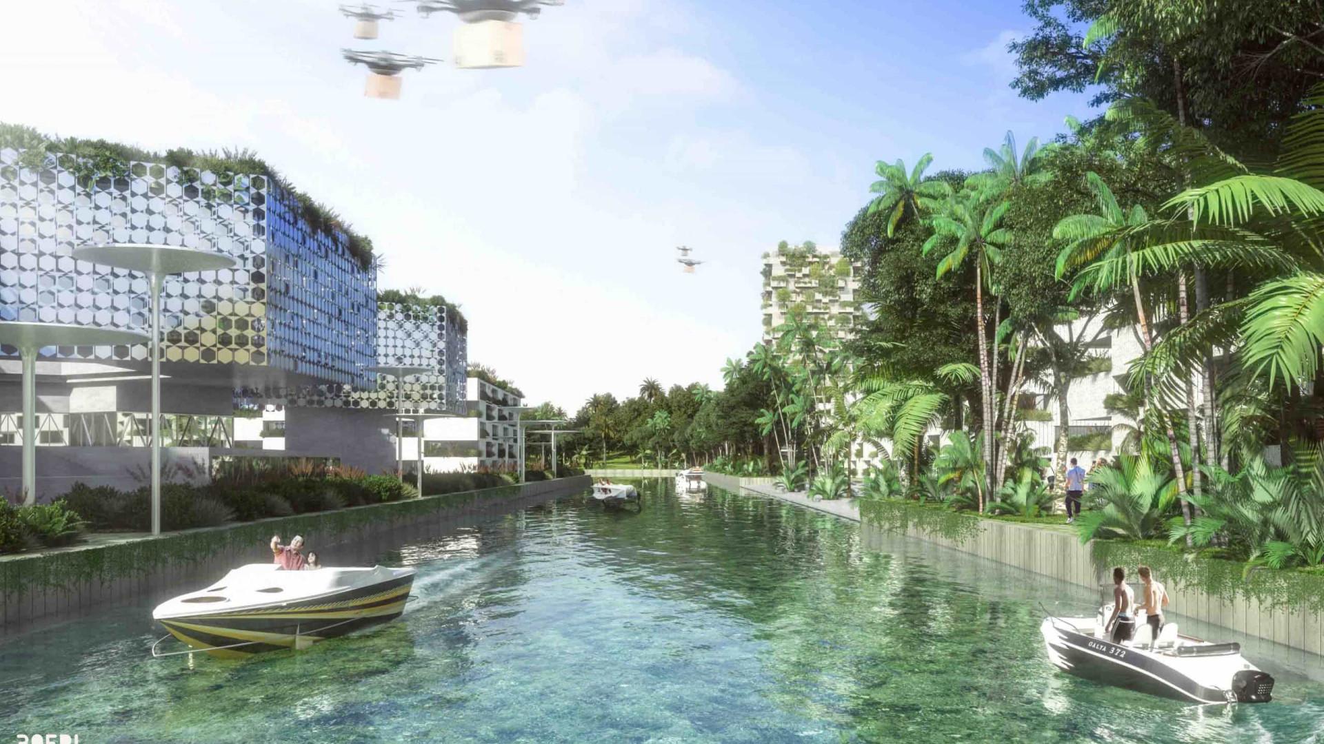 Projeto da cidade do futuro revela harmonia com a natureza envolvente