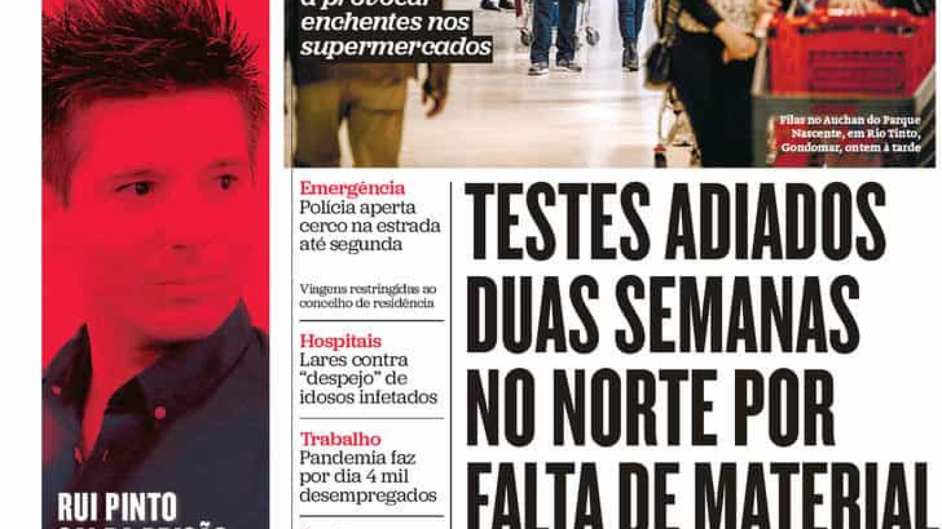 Hoje é notícia: Morre após queixas da SNS24; Enchentes nos supermercados
