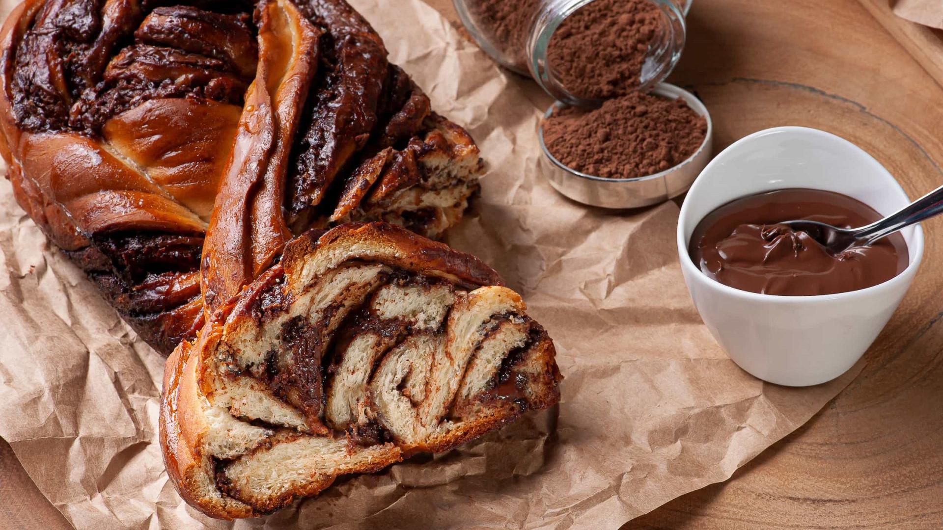 Lanches divinais: Trança de chocolate e açúcar mascavado