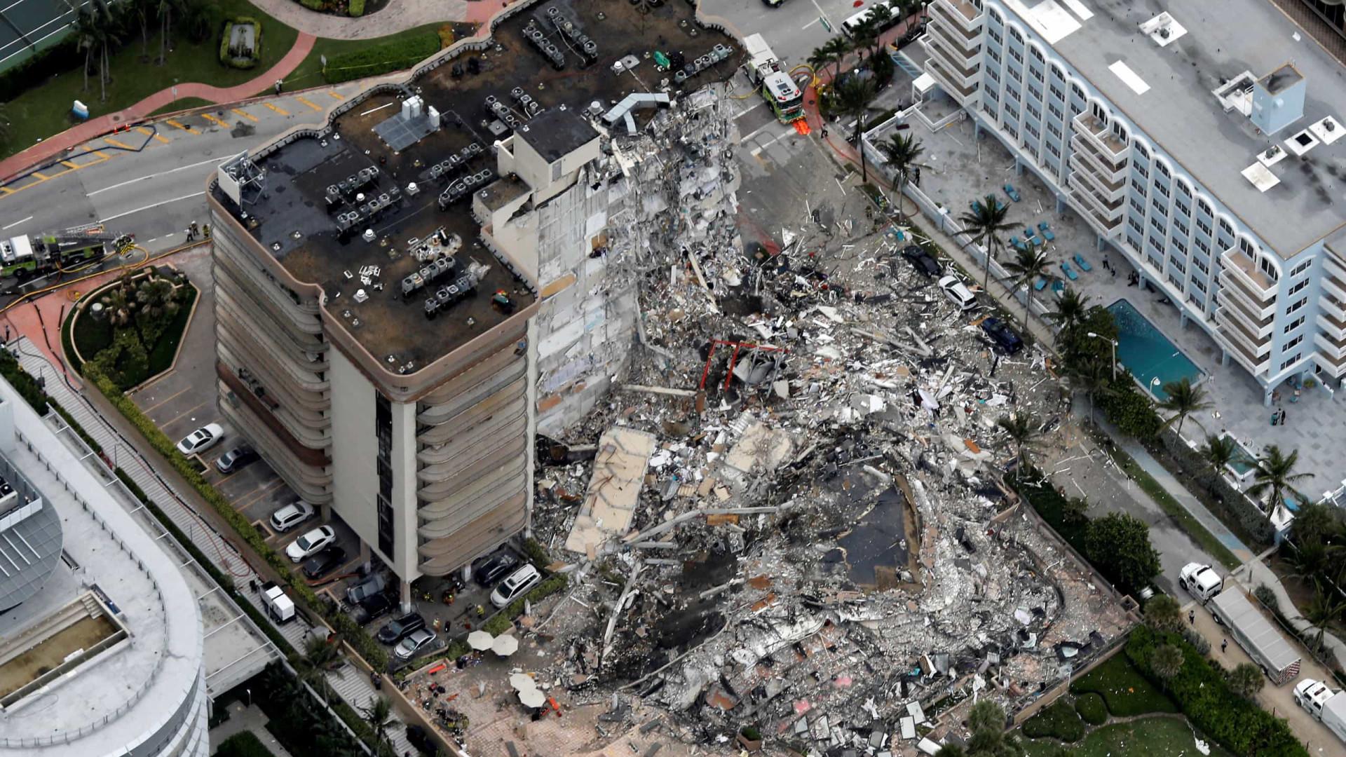 Buscas continuam após colapso de prédio em Miami. Há 99 desaparecidos