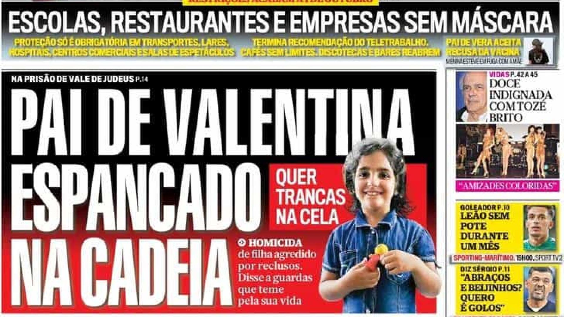 Hoje é notícia: Pai de Valentina espancado; 51 câmaras podem mudar de cor