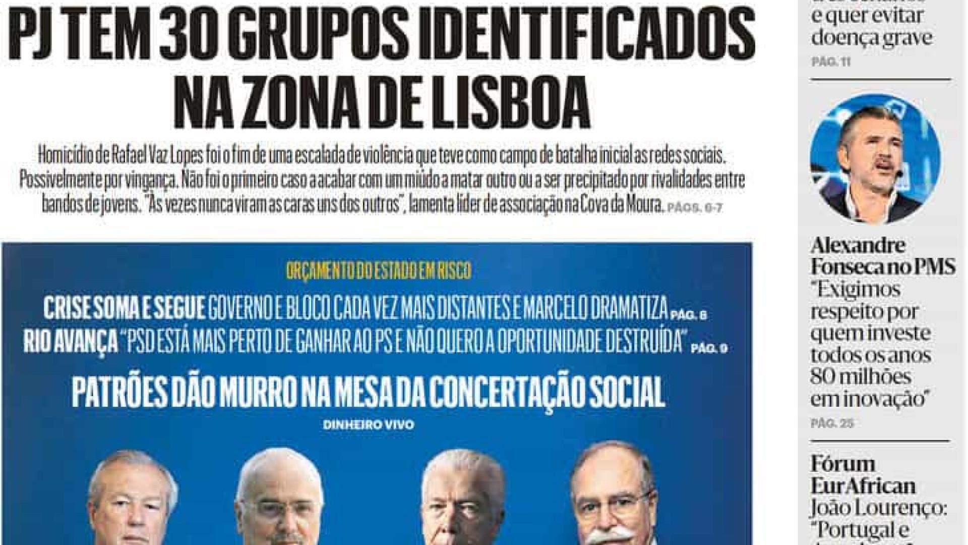 Hoje é notícia: 30 gangues em Lisboa; Rendeiro esconde fortuna