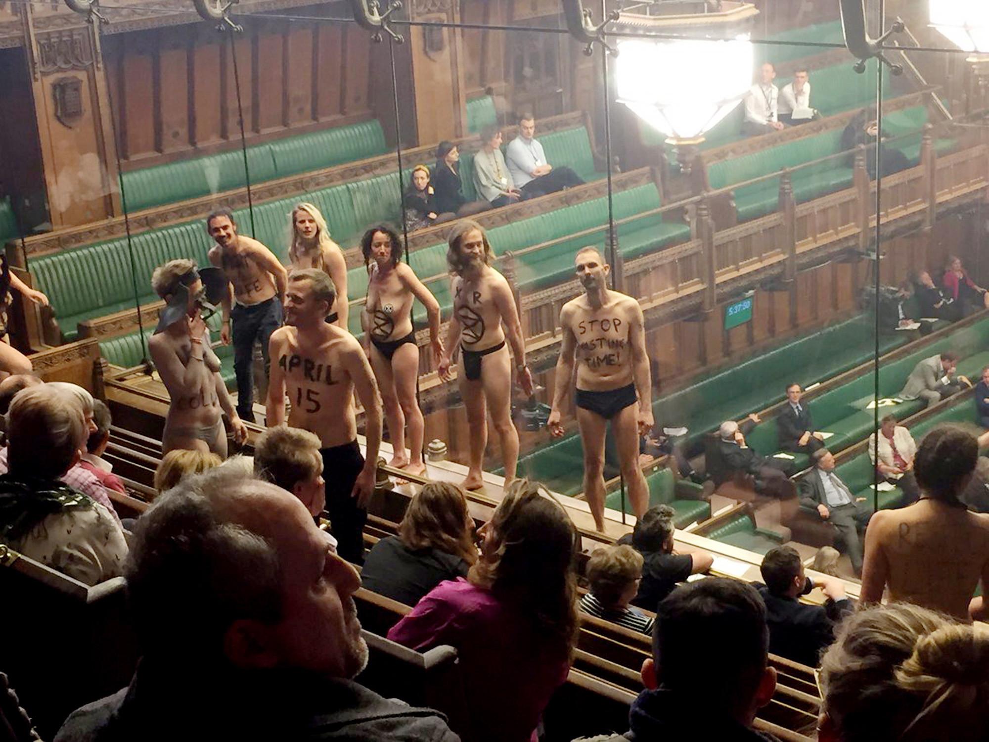 Ambientalistas despem-se durante debate no Parlamento britânico