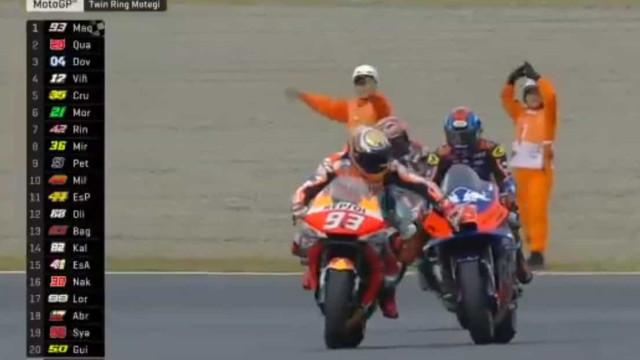 GP do Japão: O momento em que Márquez ficou sem gasolina na moto
