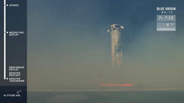 Blue Origin de Jeff Bezos conseguiu voltar a aterrar foguetão
