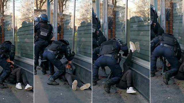 Polícia filmado a agredir com violência manifestante no chão em Paris