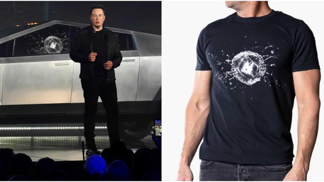 Tesla com vidro partido inspira nova t-shirt de Elon Musk