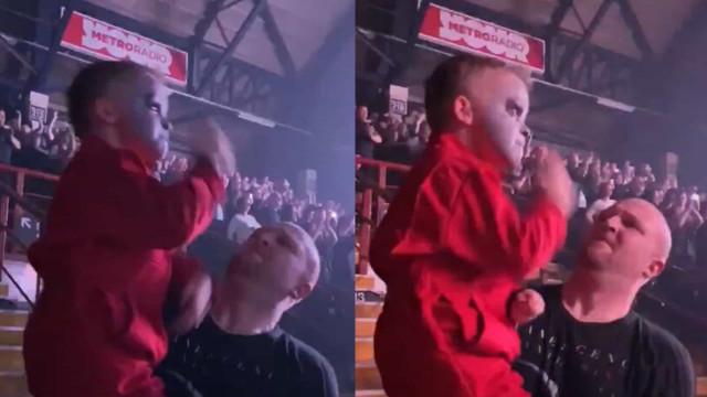 """Fã de 5 anos 'parte tudo' em concerto dos Slipknot. """"Pais como deve ser"""""""