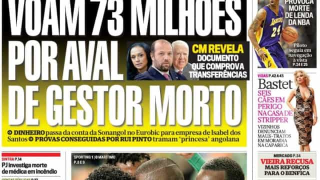 Hoje é notícia: Voam milhões por aval de gestor morto; Angola já pediu