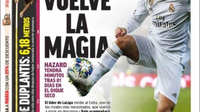 Lá fora: Regressa a magia de Hazard e um dia infeliz para o PSG