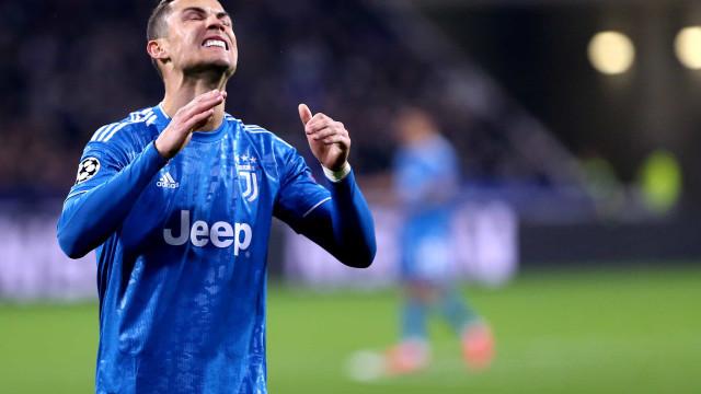 Juventus perdeu em Lyon e CR7 reagiu assim