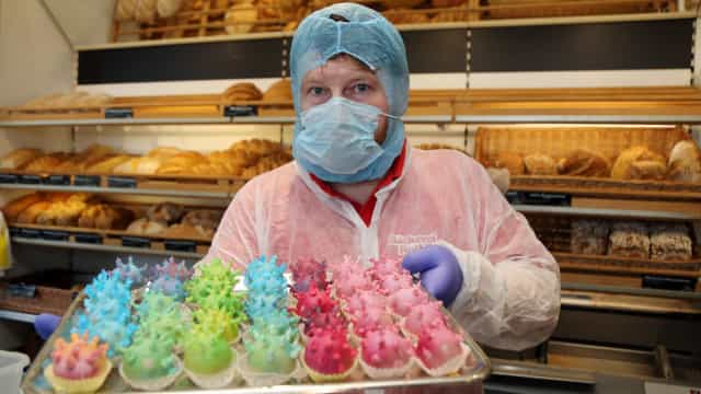 Crise? Pasteleiro alemão reage com humor (e 'bolos do corona')