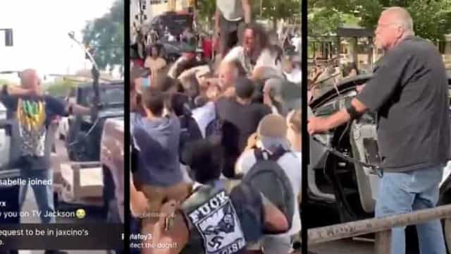 Apontou arco e flecha a manifestantes. Foi agredido e ficou sem carro