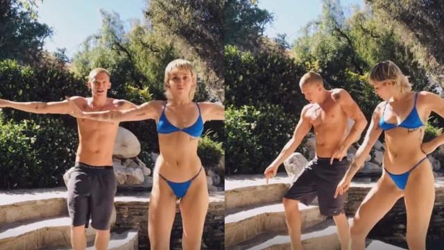 Miley Cyrus diverte-se com o namorado no TikTok e dança em biquíni