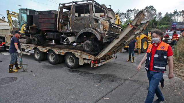 Carro dos bombeiros consumido pelas chamas em Valongo
