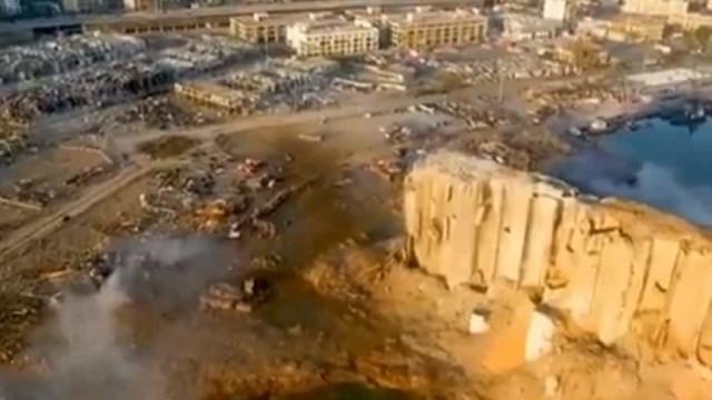 Imagens de drone mostram local das explosões em Beirute