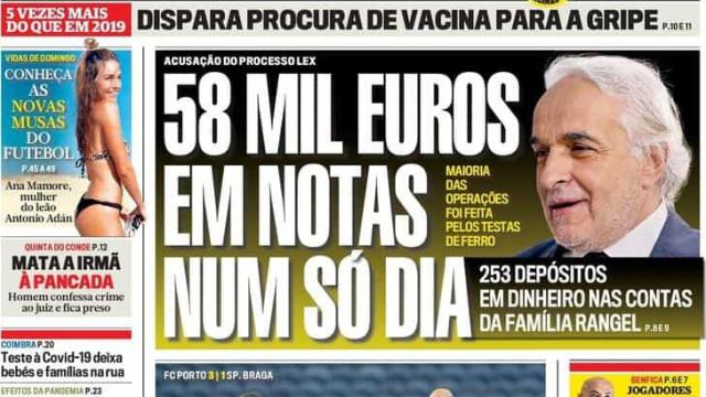 Hoje é notícia: 58 mil euros depositados num dia nas contas de Rui Rangel