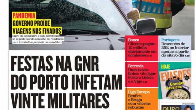 Hoje é notícia: Festas na GNR infetam militares; Cemitérios com limites