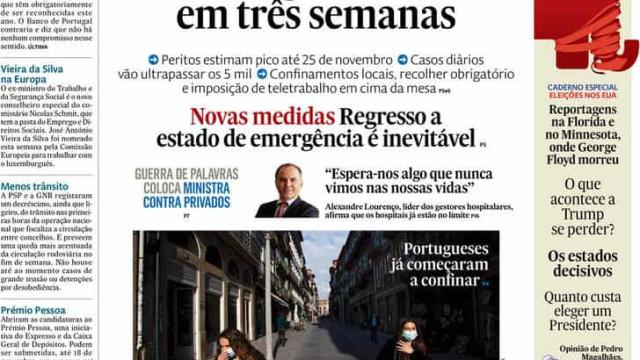 Hoje é notícia: Pico daqui a 3 semanas?; Guerra entre Marcelo e Costa