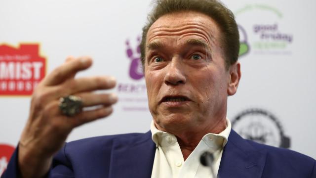 Vídeo. Arnold Schwarzenegger dá bolachas ao seu burro... dentro de casa