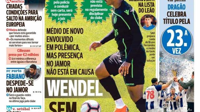 Por cá: Wendel sem castigo, a garantia de Vieira e a festa azul do hóquei