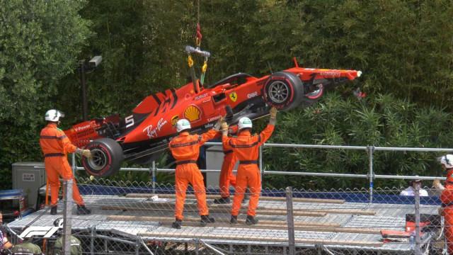 Vettel partiu frente do Ferrari e está fora da última sessão de treinos