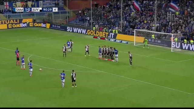 Segundo golo da Sampdoria à Juventus é um 'hino' aos livres diretos