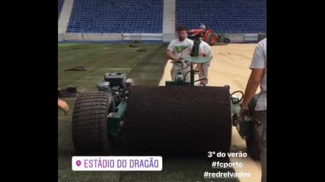 Relvado do Estádio do Dragão já começou a ser substituído