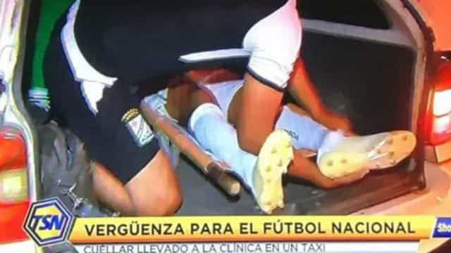 Jogador sofre fratura e é transportado ao hospital na bagageira de táxi
