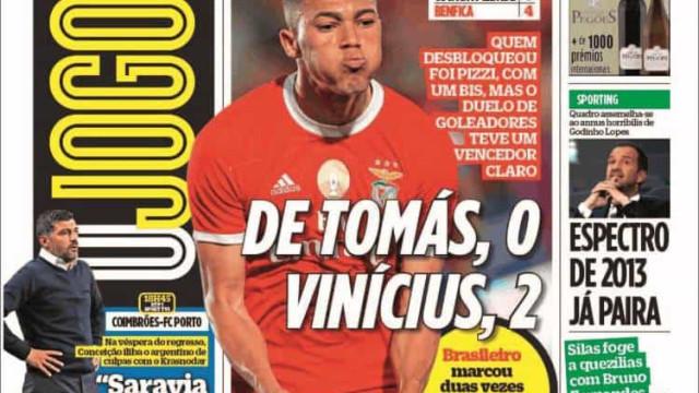 Cá dentro: Benfica sem Piedade e Vinícius ganha duelo frente a RDT