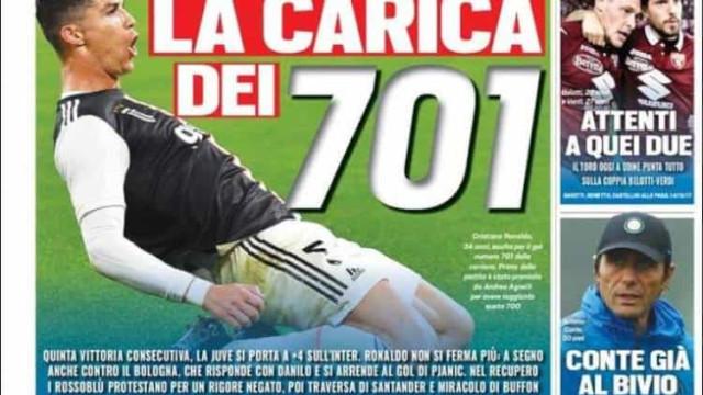 Lá fora: 'Tombo' do Real Madrid contrasta com os elogios a Ronaldo