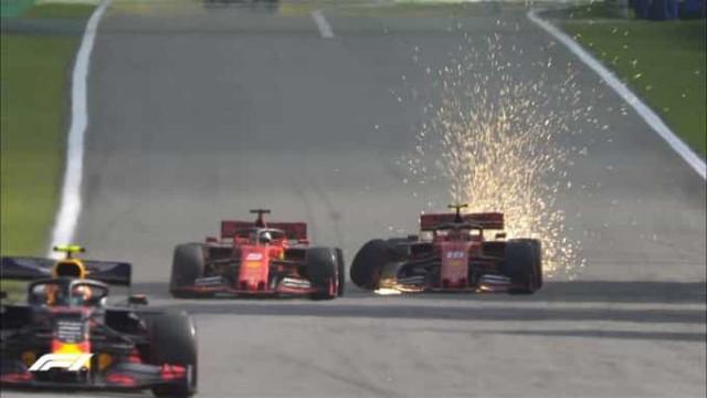 Pesadelo da Ferrari no Brasil: Vettel e Leclerc em acidente disparatado