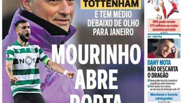 Por cá: Bruno Fernandes na lista de Mourinho e a renovação de Bruno Lage