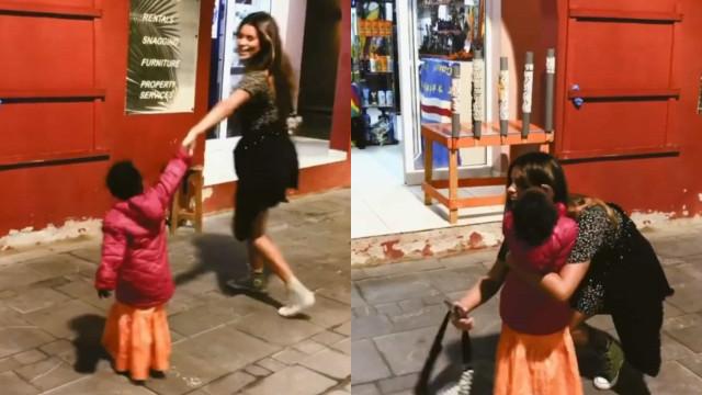 Vídeo: Carolina Loureiro dança na rua com menina cabo-verdiana