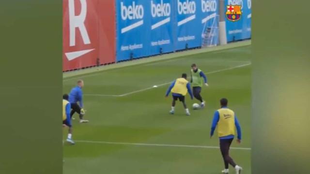 Messi está com a motivação em alta e até no treino já faz estas maldades