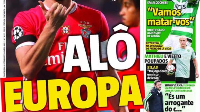 Por cá: Benfica ligado à Europa e as ameaças de morte em Alcochete