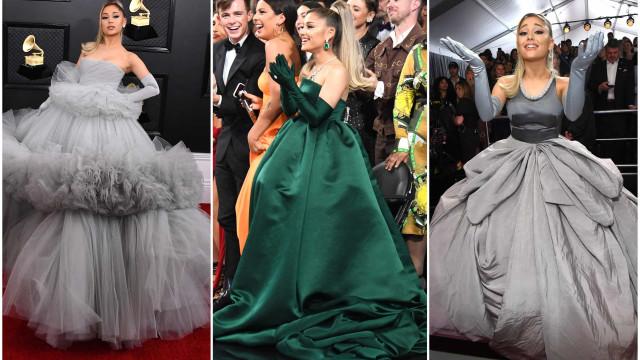 Os três looks de Ariana Grande nos Grammys 2020