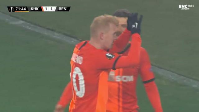 Erro de Rúben Dias e Kovalenko volta a colocar o Shakhtar em vantagem
