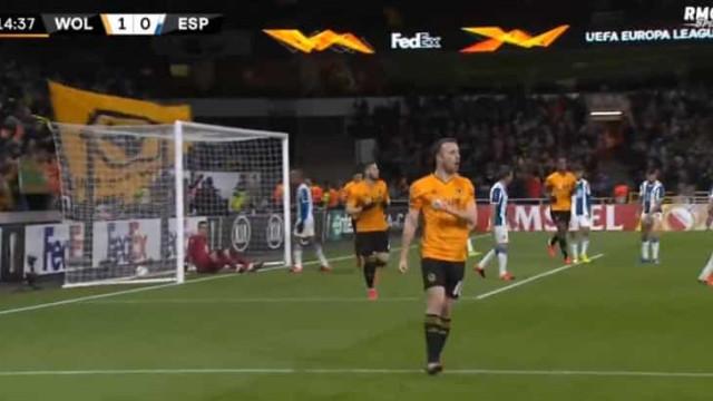 Foi assim que Diogo Jota inaugurou o marcador no Wolves-Espanyol