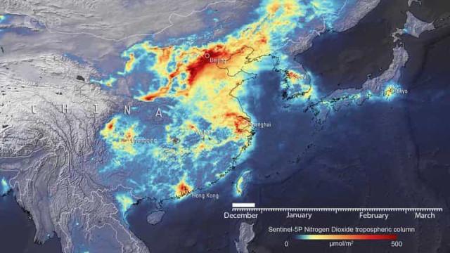 Incrível decréscimo de poluição na China registado por satélite da ESA