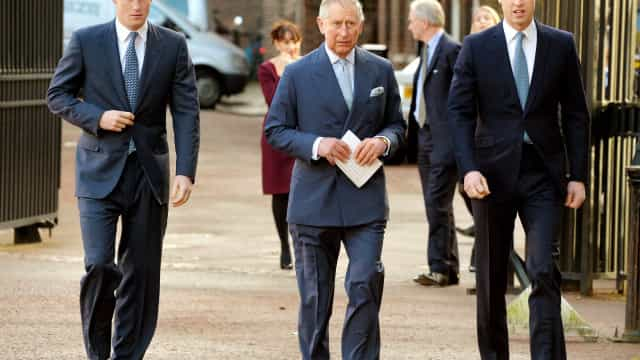 """Príncipe Carlos em """"choque"""" com tumulto entre os filhos Harry e William"""