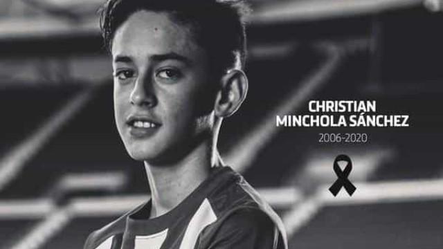 Atlético de Madrid de luto pela morte de jogador de 14 anos