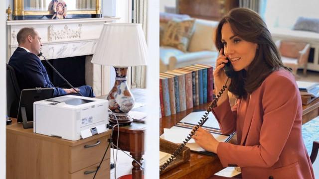 William e Kate Middleton mostram-se a trabalhar a partir de casa