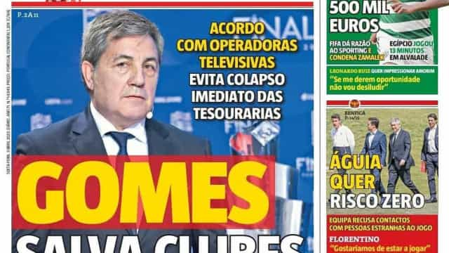 Por cá: Gomes salva clubes e o desejo de Sérgio Oliveira