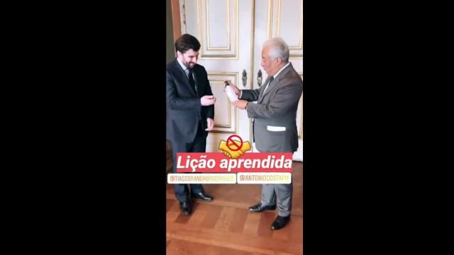 Costa apertou a mão ao ministro, arrependeu-se e pediu desculpa