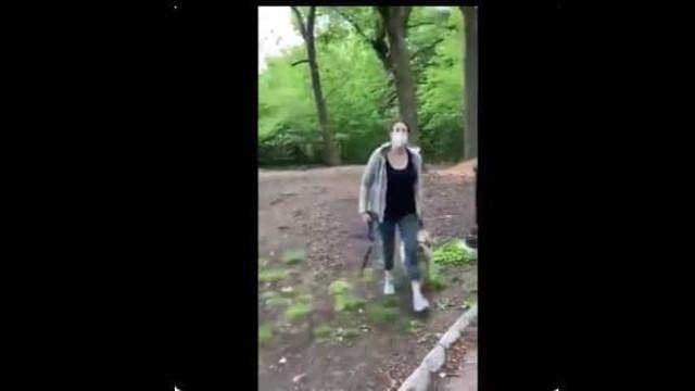 Homem pede a mulher que coloque trela no cão. Esta chama a polícia