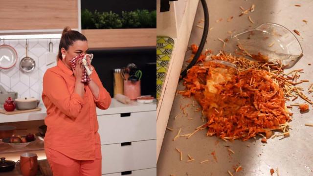 Vídeo. Ana Guiomar cozinha no 'Você na TV' e deixa prato cair no chão