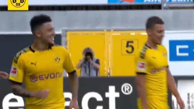 Foi assim que Sancho chegou ao hattrick e terminou a goleada do Dortmund