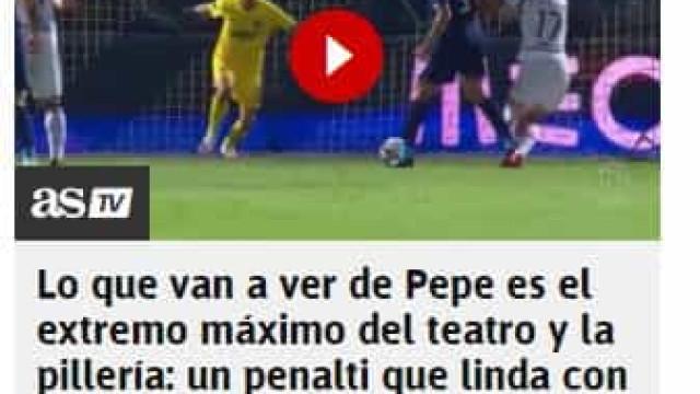 """Espanhóis destacam """"máximo teatro de Pepe"""" para """"escapar"""" a penálti"""