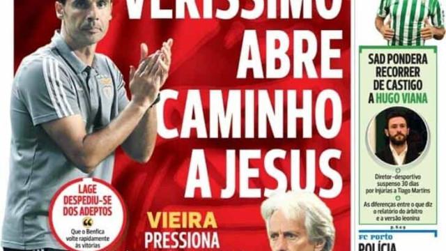 """Por cá: Vieira """"pressiona"""" Jesus e há """"fúria de leão"""""""